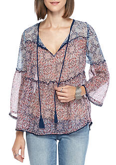 Jessica Simpson Rayna Tie Front Peasant Blouse