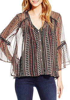 Jessica Simpson Skip Embroidered Peasant Top