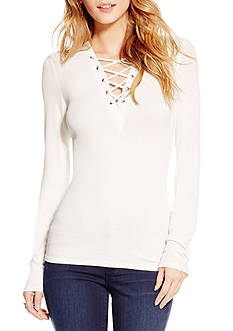 Jessica Simpson Eda Rib V Neck Knit Top