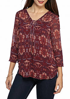 Jessica Simpson Morgan Lace-Up Printed Blouse