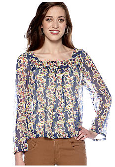 Jessica Simpson Waterfall Floral Print Blouse