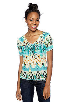 Jessica Simpson Scorpion Printed Embroidered Peasant Blouse