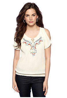 Jessica Simpson Scorpion Embroidered Peasant Blouse