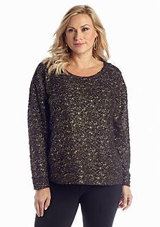 Jessica Simpson Plus Size Textured Foil Sweatshirt