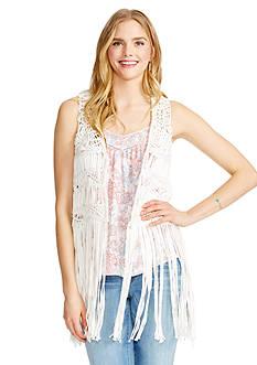 Jessica Simpson Crochet Fringe Vest