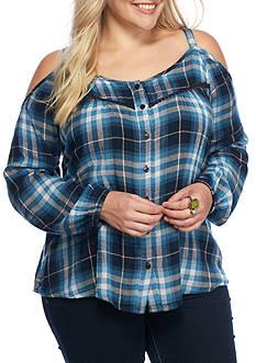 Jessica Simpson Plus Size Rose Plaid Cold Shoulder Top