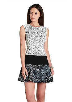 BCBGMAXAZRIA Lillian Print Fit and Flare Dress