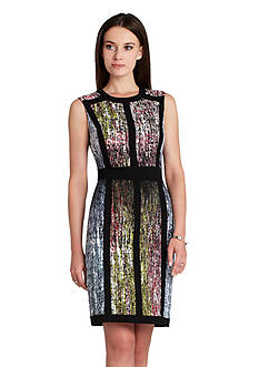 BCBGMAXAZRIA Piped Print Sheath Dress