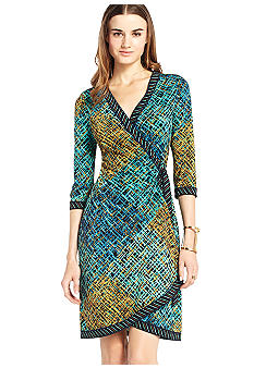 BCBGMAXAZRIA Multi Border Wrap Dress