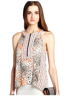 BCBGMAXAZRIA Printed Sleeveless Blouse