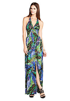BCBGMAXAZRIA Hayley Printed Halter Maxi Dress