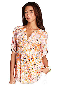 BCBGMAXAZRIA Bessie Printed Pintucked Top