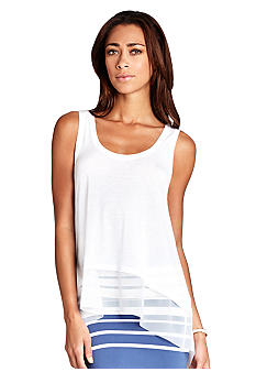 BCBGMAXAZRIA Clover Long Back Sheer Bottom Tank