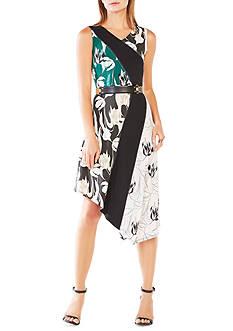 BCBGMAXAZRIA Meera Tulip Print Asymmetrical Dress