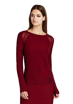 BCBGMAXAZRIA Audri Sheer Inset Sweater