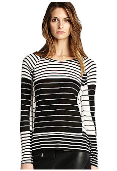 BCBGMAXAZRIA Long Sleeve Stripe Knit Top