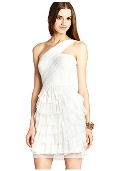 BCBGMAXAZRIA One Shoulder Pleated Tiered Dress