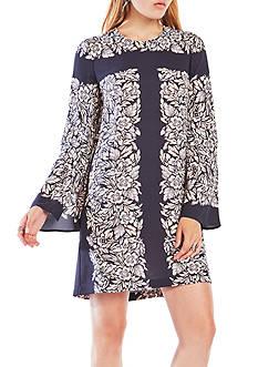 BCBGMAXAZRIA Long Floral Bell Sleeve Dress