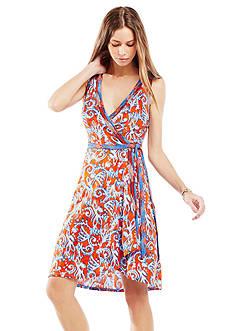 BCBGMAXAZRIA Hallee Ikat Scrolls Print Wrap Dress