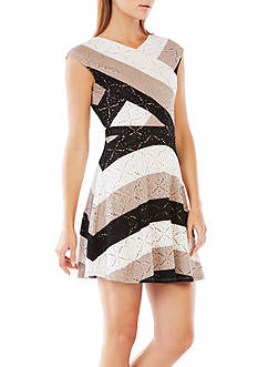 BCBGMAXAZRIA Jasmyne Striped Lace Dress