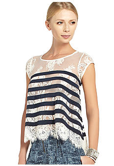 BCBGMAXAZRIA Stripe Lace Short Sleeve Blouse