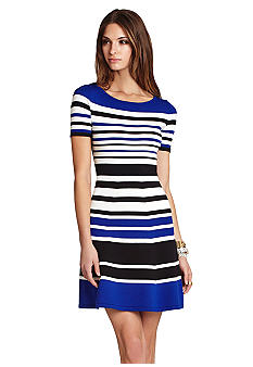 BCBGMAXAZRIA Emmalie Striped A-Line Dress