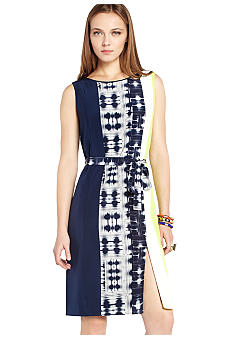 BCBGMAXAZRIA Easton Printed Color Block Sheath Dress