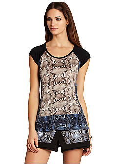 BCBGMAXAZRIA Keeley Blocked Print Top