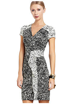 BCBGMAXAZRIA Printed Peplum Jersey Dress
