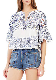 BCBGMAXAZRIA Imanne Embroidered Eyelet Ruffle Top