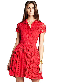 BCBGMAXAZRIA Eyelet Shirt Dress