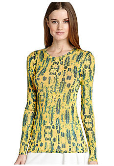 BCBGMAXAZRIA Printed Long Sleeve Knit Top