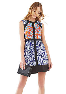 BCBGMAXAZRIA Donatella Ikat Scroll Print-Blocked Dress