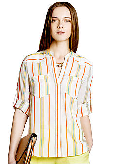 BCBGMAXAZRIA Stripe Roll Sleeve Blouse