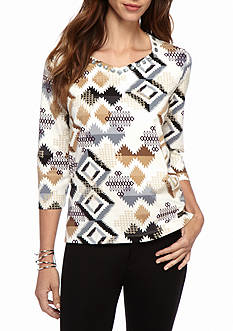 Alfred Dunner Classics Aztec Knit Tee