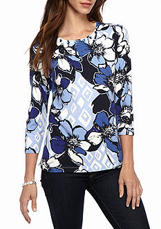 Alfred Dunner Classics Allover Floral Knit Tee