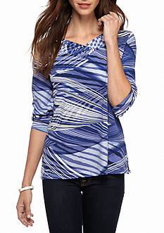 Alfred Dunner Classics Waves Knit Tee