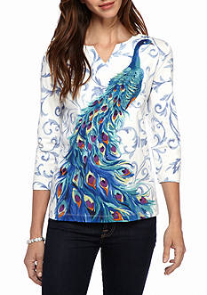 Alfred Dunner Classics Peacock Knit Tee
