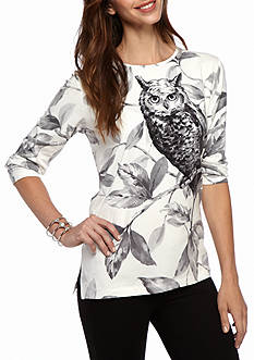 Alfred Dunner Classics Owl Print Knit Tee