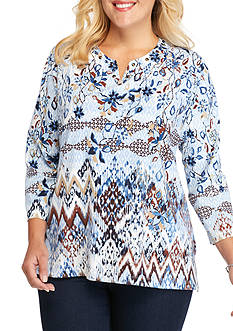 Alfred Dunner Plus Size Classics Floral Biadere Knit Tee
