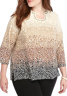 Alfred Dunner Plus Size Classics Ombre Biadere Knit Tee