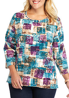 Alfred Dunner Plus Size Classics Blocks Knit Tee