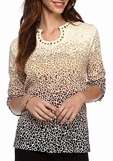 Alfred Dunner Petite Classics Ombre Biadere Knit Tee