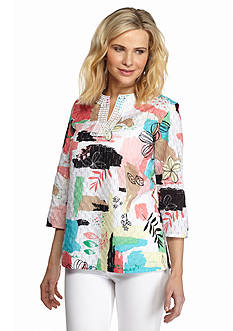 Alfred Dunner Classics Patchwork Print Tunic Top