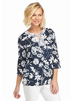 Alfred Dunner Classics Floral Woven Tunic