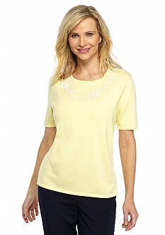 Alfred Dunner Classics Short Sleeve Solid Necklace Shell Sweater
