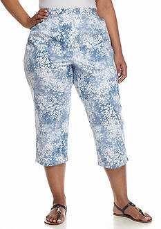 Alfred Dunner Plus Size Classics Floral Print Capri