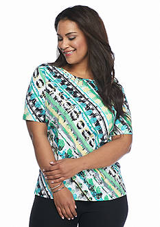 Alfred Dunner Plus Size Classics Diagonal Tee