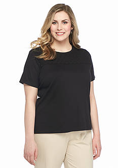 Alfred Dunner Plus Size Classics Lace Yoke Tee