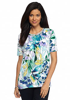 Alfred Dunner Petite Classics Tropical Knit Tee